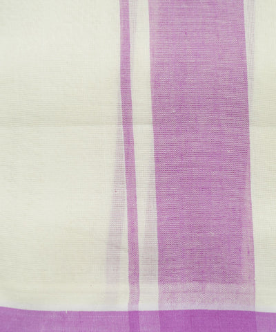 Off White Pink Handwoven Double Cotton Dhoti