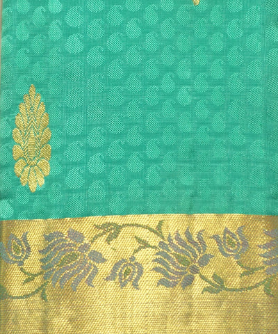 Cyan Green Handwoven Arni Silk Saree