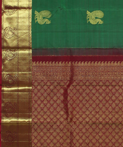 Handwoven Green and Maroon Silk Saree