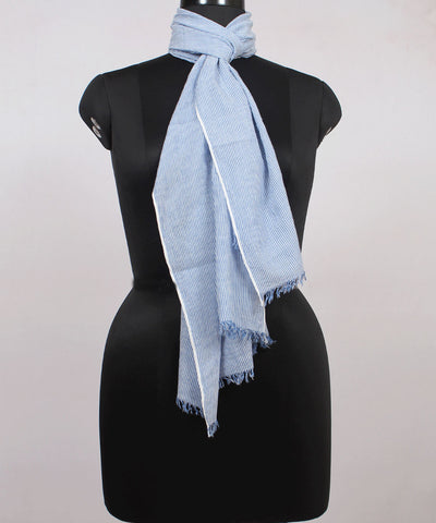 Blue Striped Handwoven Cotton Stole