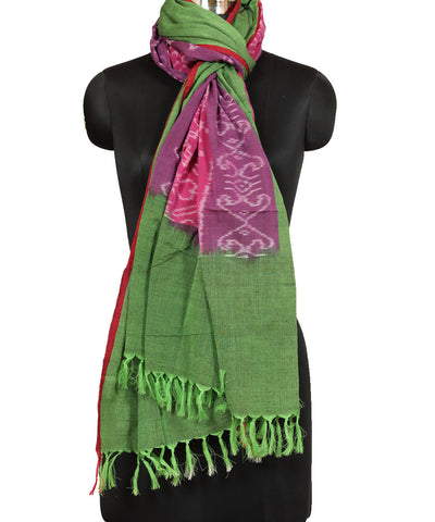 Pochampally PinkGreen Handloom Cotton Dupatta