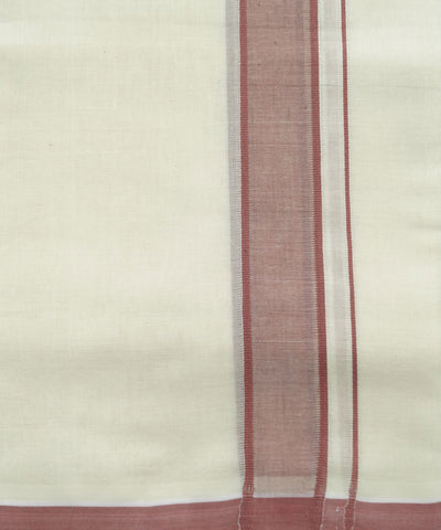 Handwoven Off White Brown Double Cotton Dhoti