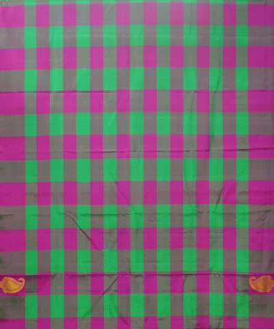 Green Pink Checks Handwoven Arni Silk Saree
