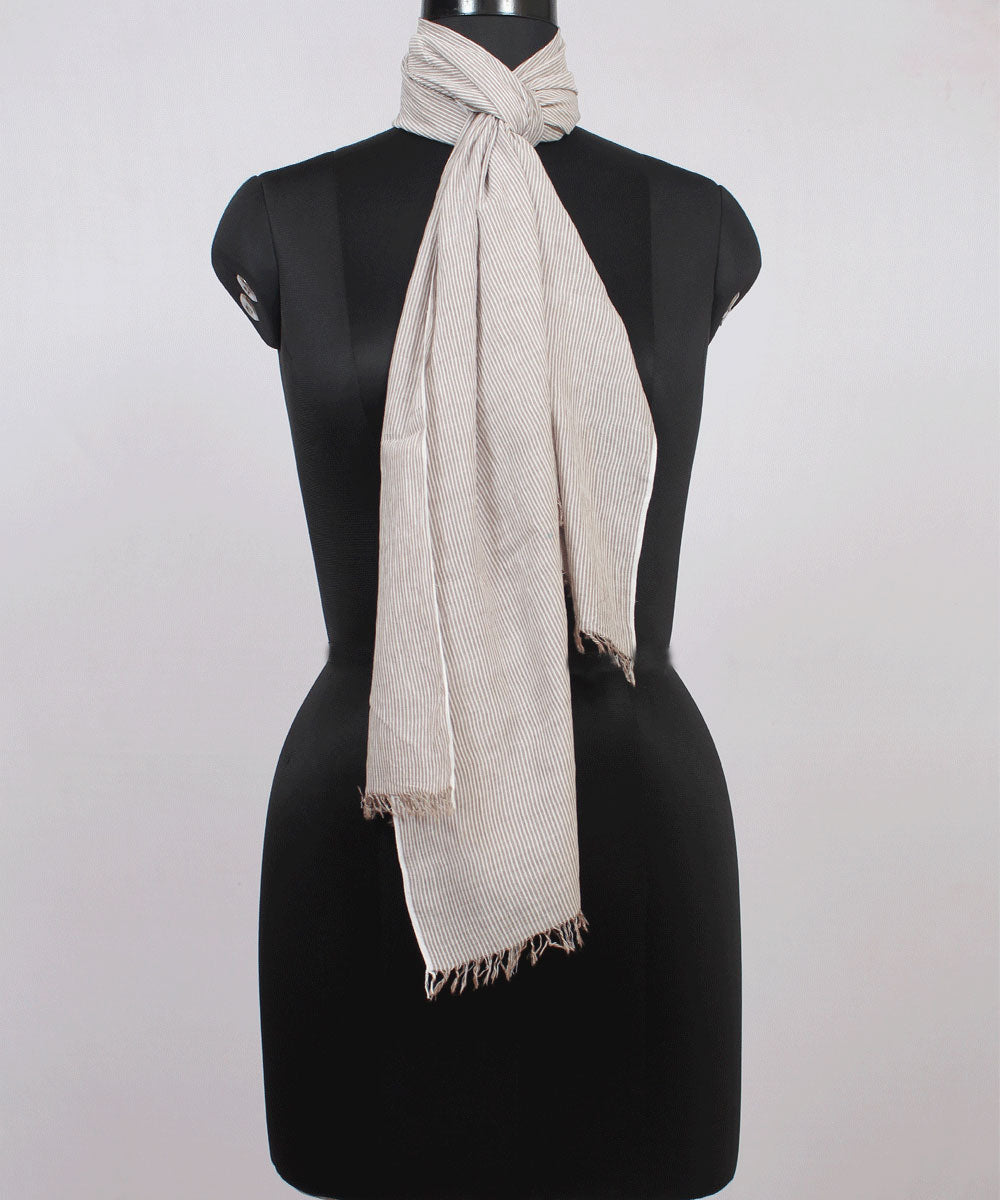 Brown Striped Handwoven Cotton Stole