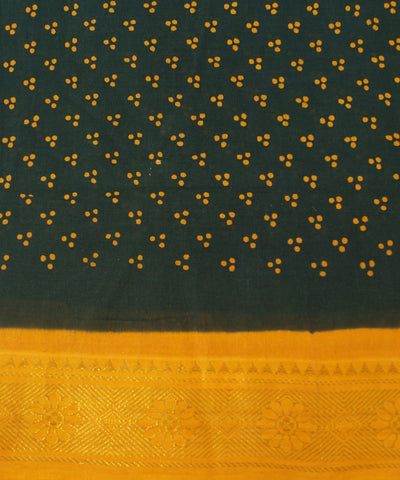 Sungudi Green and Yellow Cotton Madurai Saree