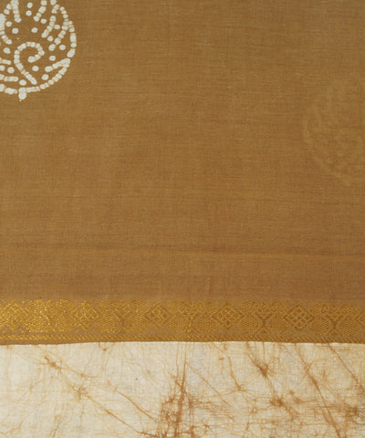 Sungudi Brown and Cream Cotton Madurai Saree