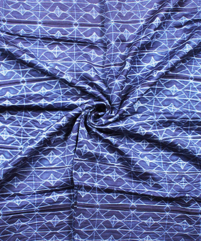 Shibori Chanderi Navy Blue Print Kurta Fabric