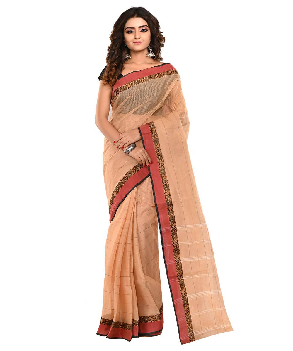 Bengal Light Brown Handloom Cotton Saree