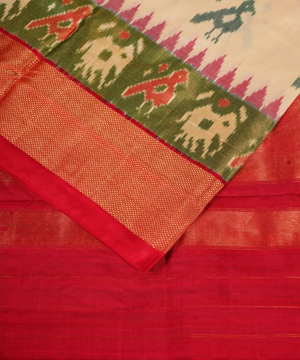 Off White Handloom Pochampally Silk Saree
