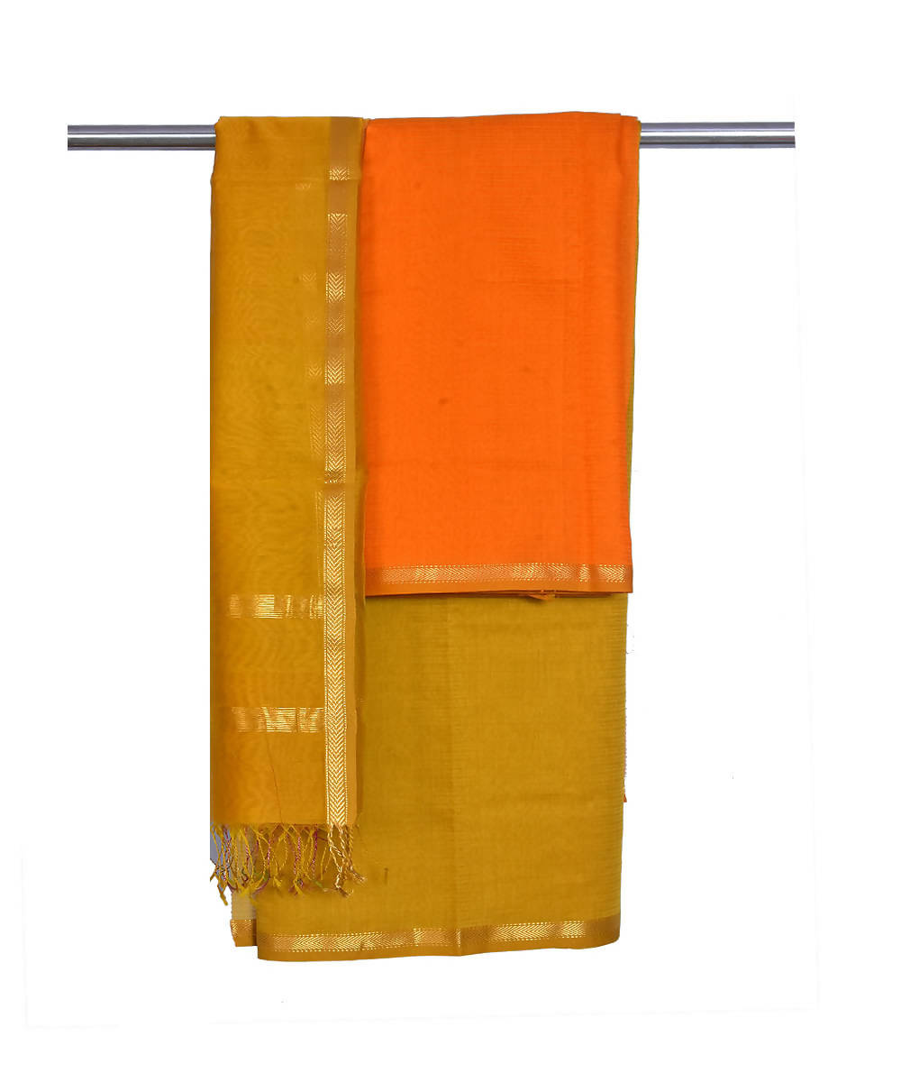 Orange Maheshwari Handloom Dress Material