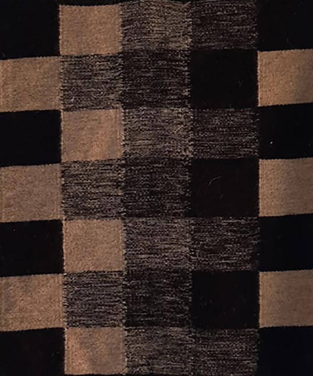 Black and off white checks handwoven wool and cotton durrie