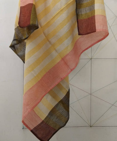 Multicolor Stripes Ganga Jamuna Border Handloom Cotton Scarf