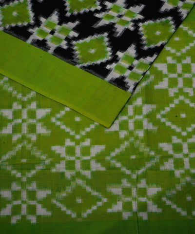 Black Green Ikat Telia Rumal Cotton Saree