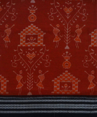 Red orange handloom Sambalpuri Cotton Saree