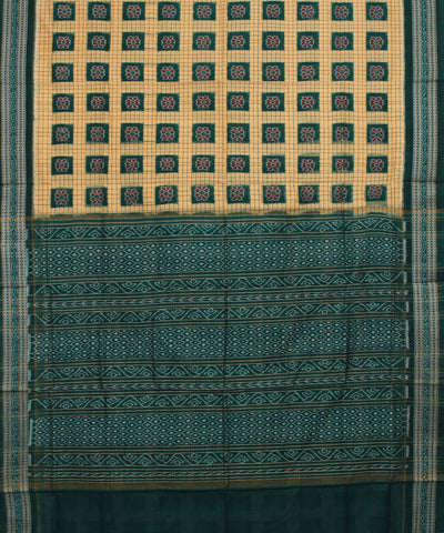 Beige Green Sambalpuri Handloom Cotton Saree