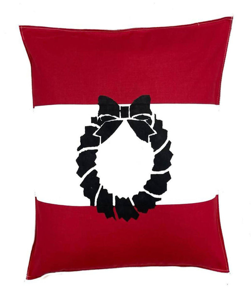 Offwhite red handwoven christmas wreath motif cotton cushion cover