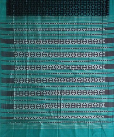 Green Black Cotton Sambalpuri Handloom Saree