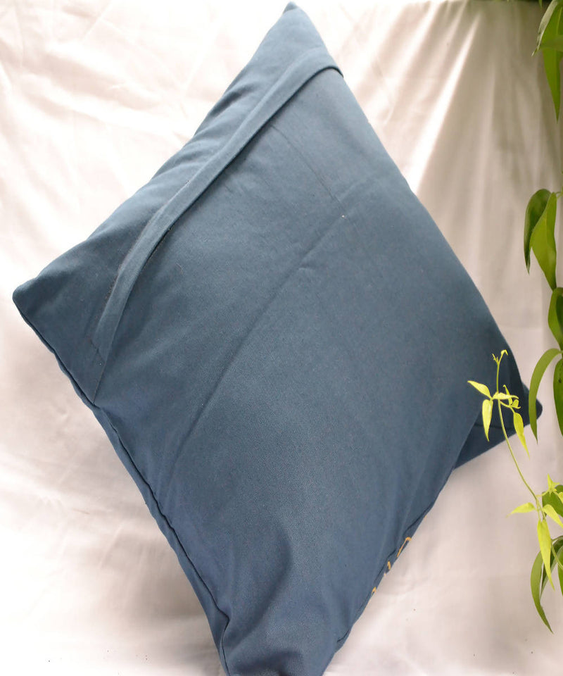 Dark blue lambani hand embroidery cotton cushion cover