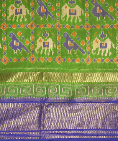 Handloom Green Blue Pochampally Silk Saree