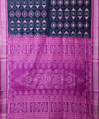 Black Fandango Sambalpuri Handloom Cotton Ikat Saree