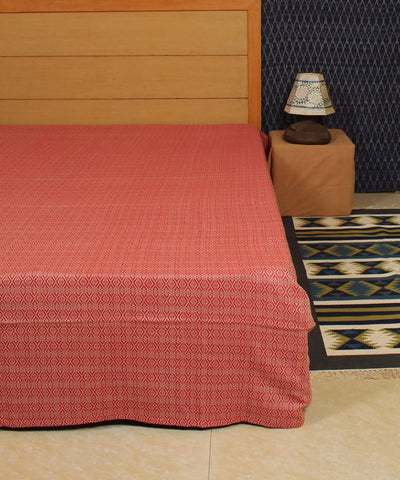 Red Floral Handwoven Cotton Bed Cover