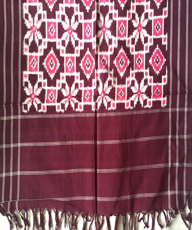 Handwoven Multicolor Cotton Telia Rumal Ikkat Dupatta