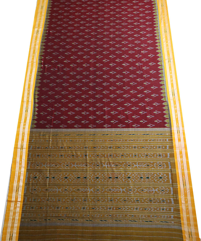 Maroon cotton handloom nuapatna saree