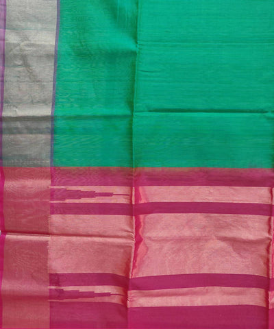 Green Pink Handloom Silk Cotton Saree