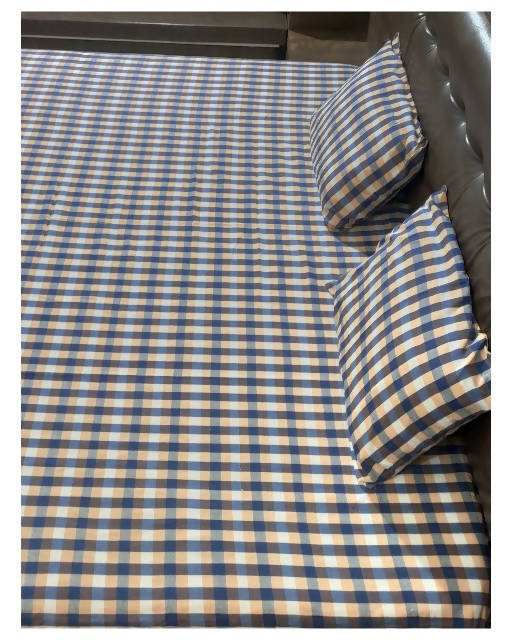 Brown checks handloom king size double bedsheet