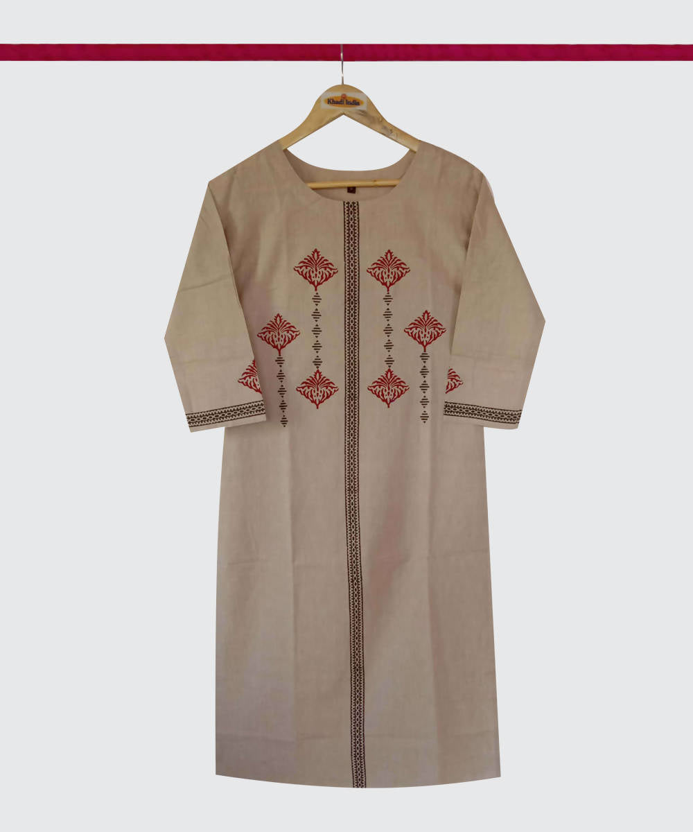 Camel Brown Print Handspun Handwoven Cotton Kurti