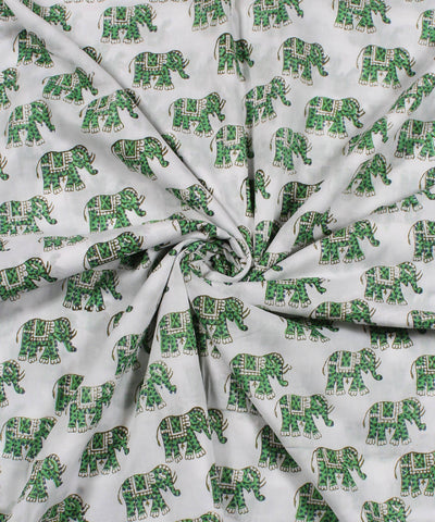 Green Elephant Handblock Print Cotton Fabric