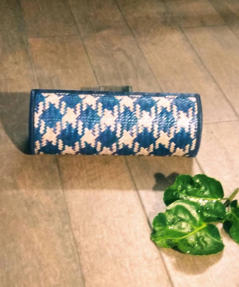 Teal blue handwoven sitalpati clutch