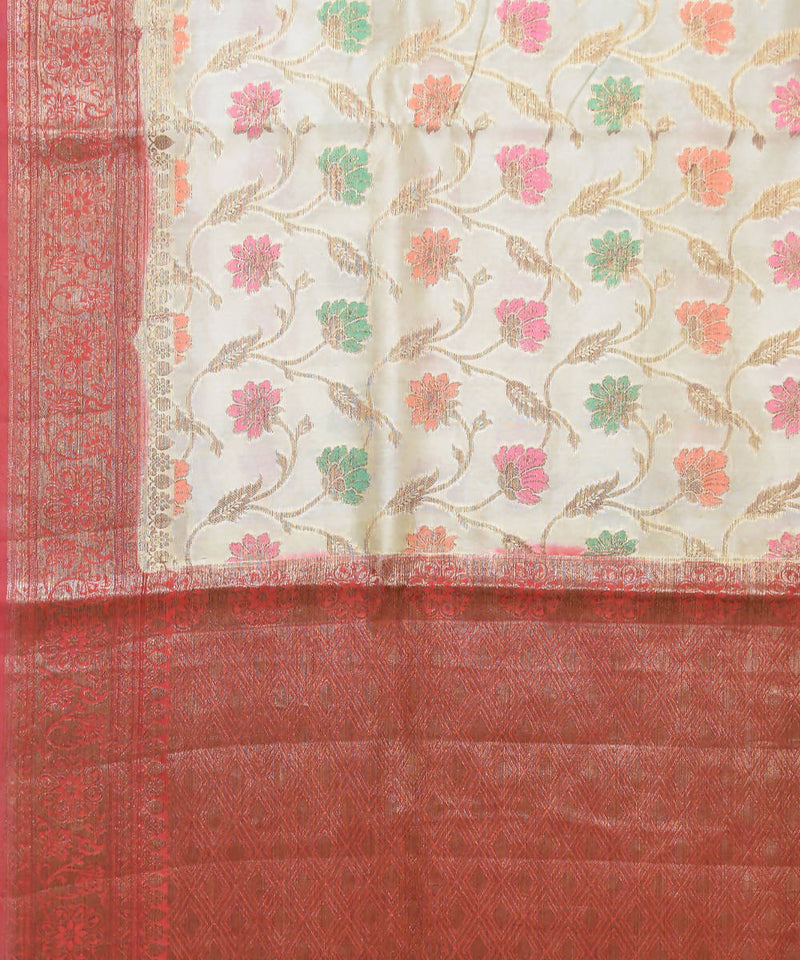 Banarasi Off White Brown Handloom Silk Saree