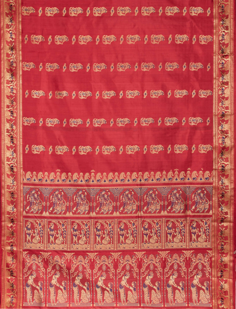 Biswa Bangla Handwoven Red Baluchari Silk Saree with Mina Work