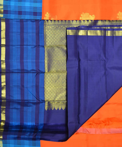 Orange Blue Handloom Checks and Butta Work Dharmavaram Silk Saree