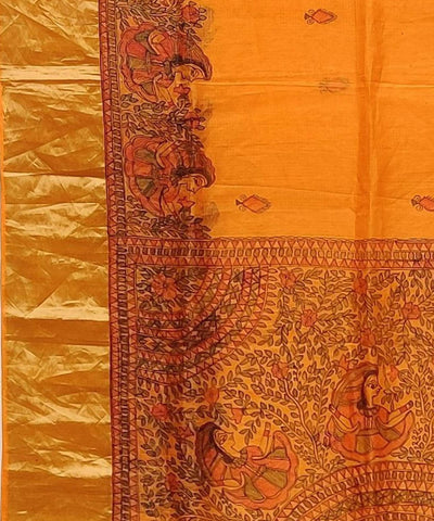 Madhubani Orange Hand Painted Silk Saree