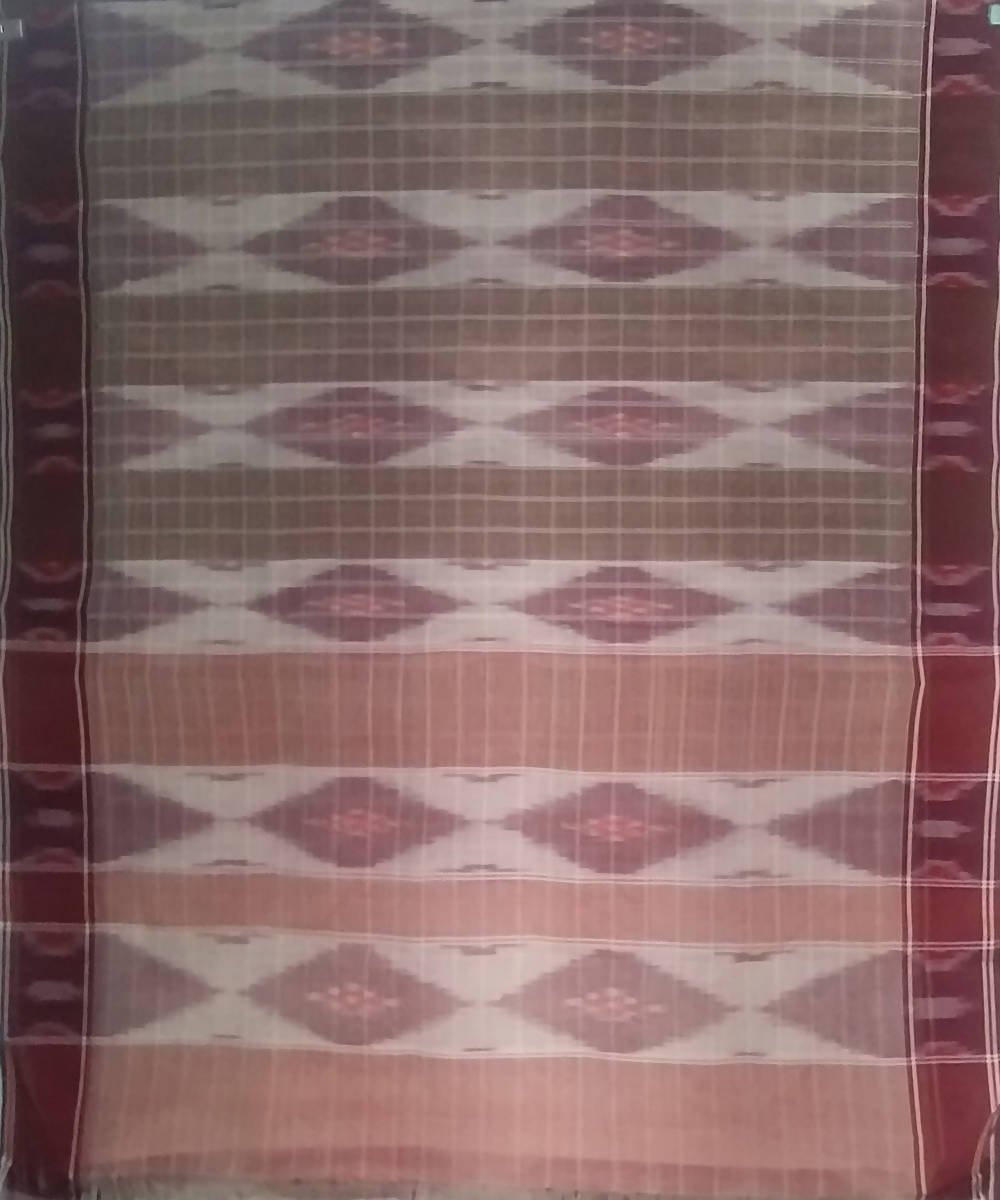 Brown Maroon siddipet tie and dye handwoven cotton saree