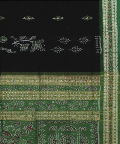 Black Green Handloom Bomkai Cotton Saree