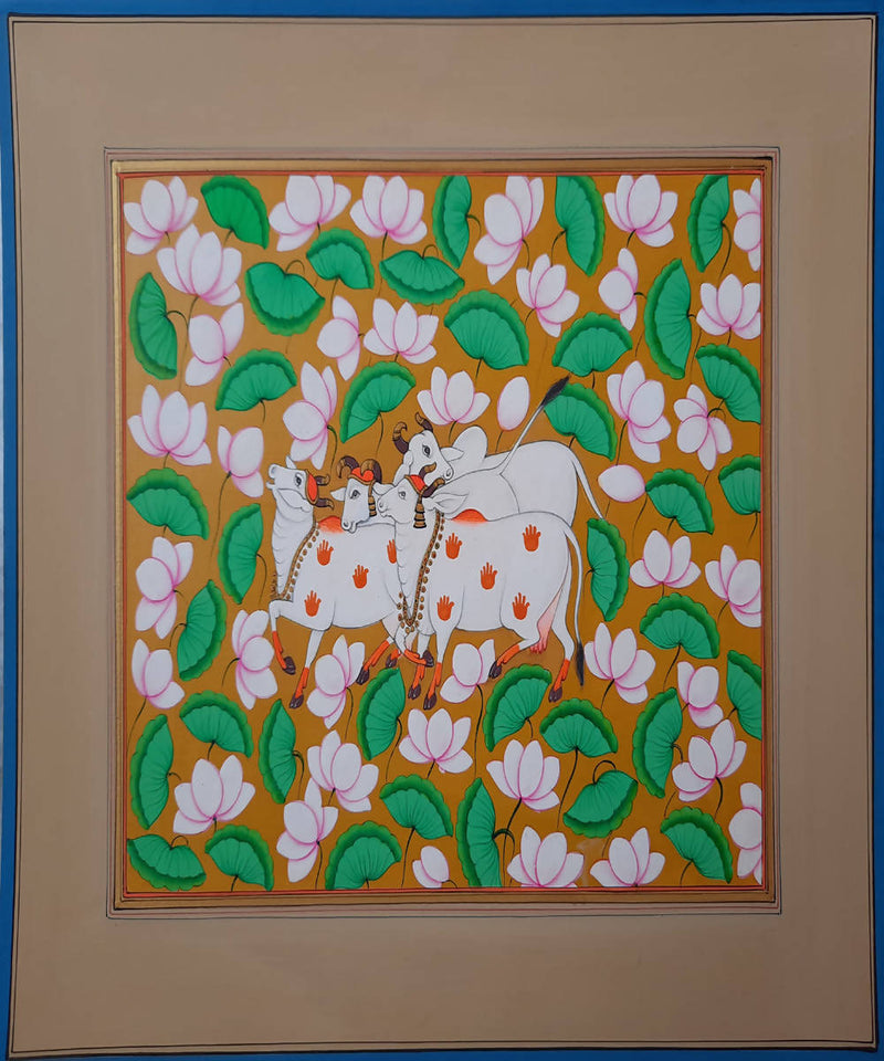 Handmade pichwai cow painting on handmade paper