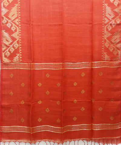 red handwoven Linen Jamdani Saree