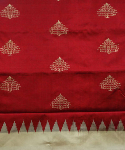 Red Maroon handwoven bomkai silk saree