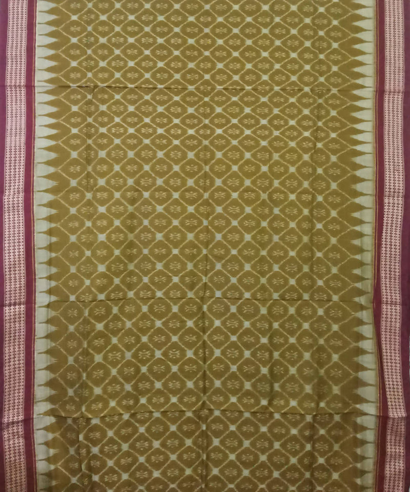 Olive Green Sambalpuri Cotton Ikat Saree
