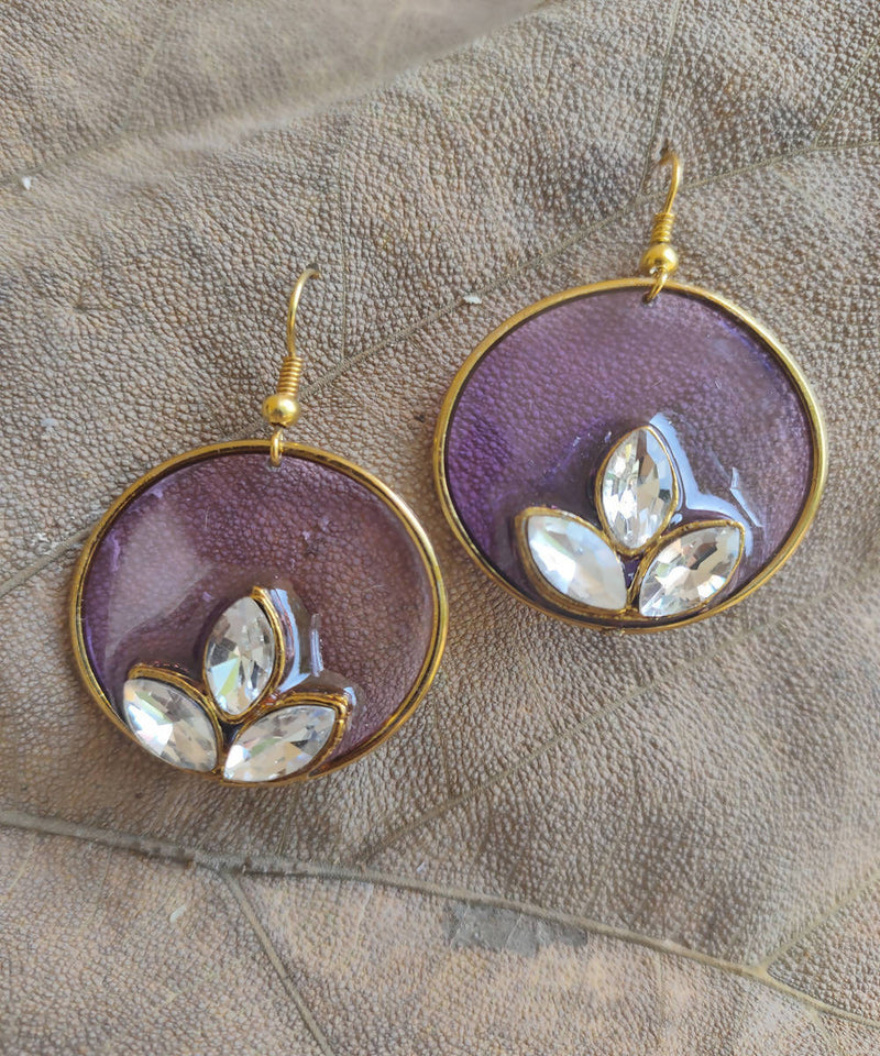 handcrafted lavender round enamel floral earring drops