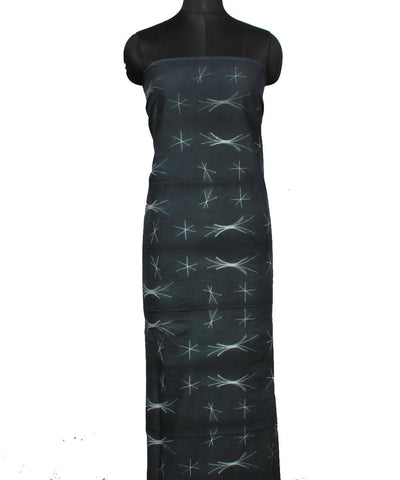 Grey Black Shibori Cotton Kurta Fabric