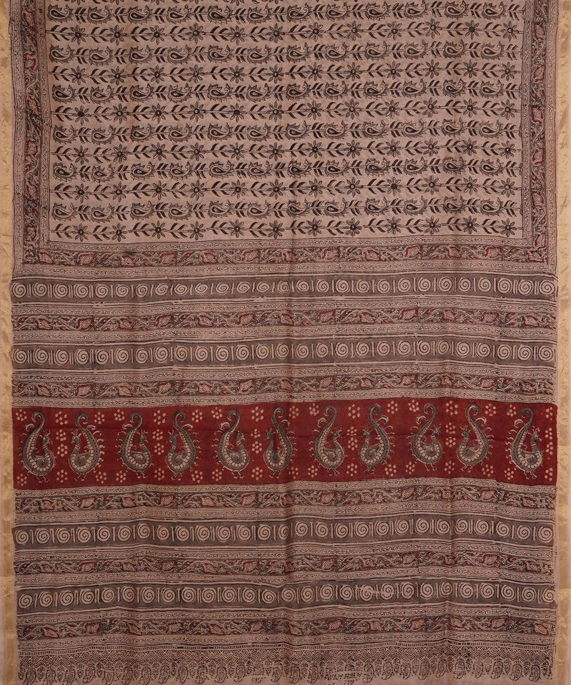 Hand Block Printed Chanderi Kalamkari Saree