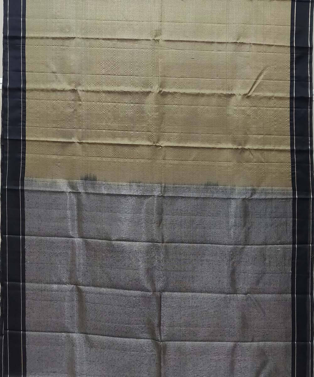 Gray black Handloom kanchipuram Silk Saree