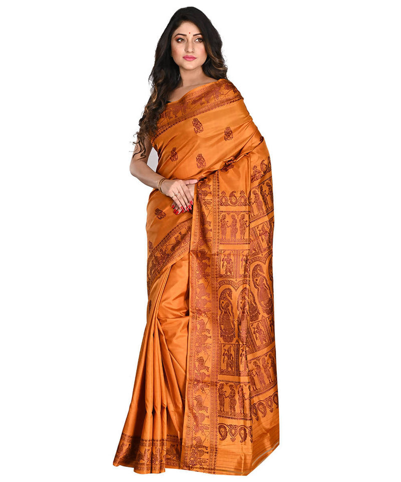 Bengal Handloom Baluchari Orange Silk Saree