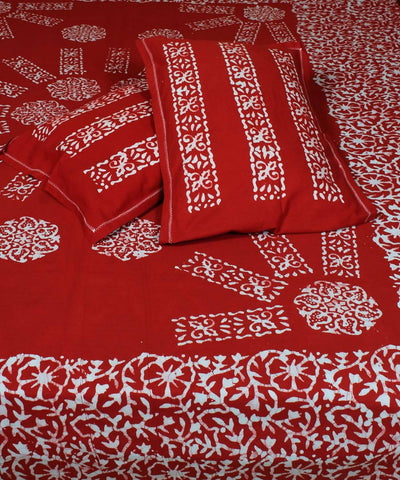 Red Batik Hand Print Handloom Cotton Bedsheet