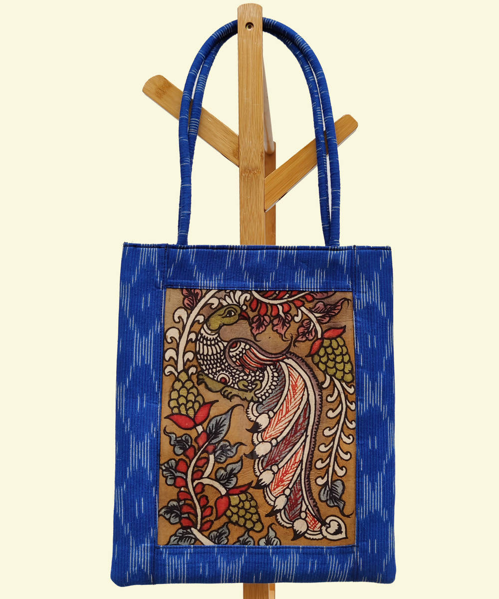 Hand painted kalamkari ikat blue tote bag