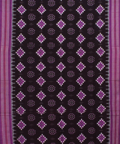 Dark Brown Purple Sambalpuri Cotton Saree